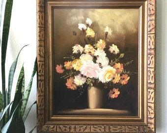 Beautiful Large Vintage Floral Painting / Original Signed Painting / Framed Pastel Flowers Painted on Canvas