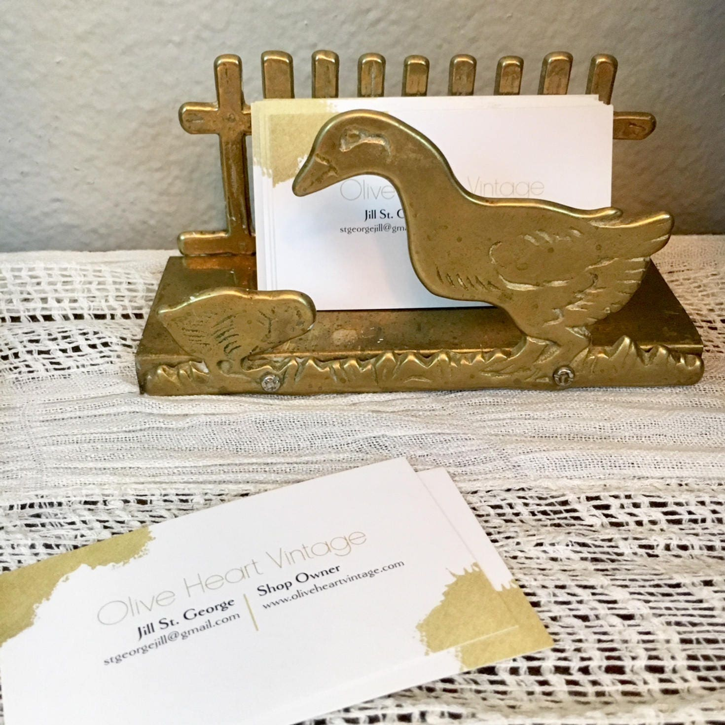 Cute Vintage Brass Business Card Holder / Duck and Chick Letter Rack
