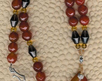 Carmelized- Carnelian, Smoky Quartz, Citrine, Sterling Silver Necklace Unique OOAK Southwestern Style Mother's Day Birthday Gift