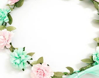 Pastel Pink and Mint Flower Crown
