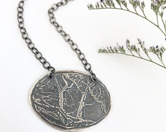 Etched Bronze or Sterling Silver Oak Trees Pendant