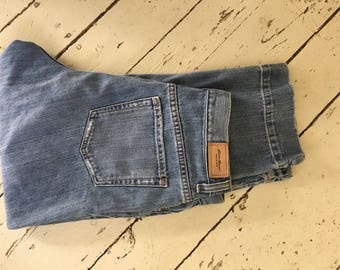 1990's , Eddie Bauer, Women's Faded Denim, Mom Jeans, High Waisted, Size 10