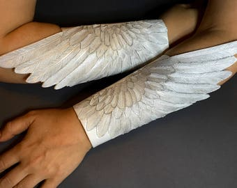 Angel wings - Pair of hand tooled leather winged bracers - White dove wings with silver shading - Tooled leather swan wings