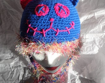 Hand Crocheted Zombie Cat Hat with Ear Flaps and Braids