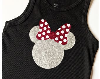 Glitter MINNIE with Glitter BOW Tank Toddler Sizes Girls Glitter Tank Top Disney Trip Tank Tops