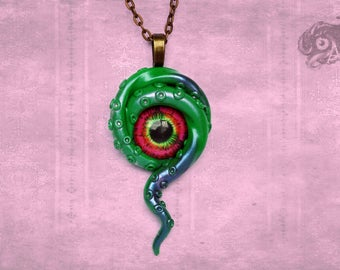 Kraken and eye polymer clay and glass pendant in bright green and pink // Octopus tentacle jewellery // Fantasy Steampunk // Chain sold sep.