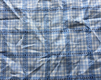 """Vintage Cadet Blue & White with Black Woven Plaid Shirting Fabric Scrap // 19x34"""" > cotton"""