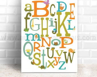 Alphabet Poster, Playroom Poster, Nursery Poster, Alphabet Nursery Art, Nursery Wall Art, Alphabet Art, Alphabet Wall Art, Poster 22-0024