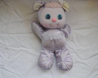 1989 Mattel PJ SPARKLES Sparklins Pet Lavender Bear with glow in the dark stars