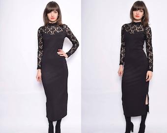 Vintage 90's Black Lace Maxi Dress / Ribbed Long Dress - Size Small