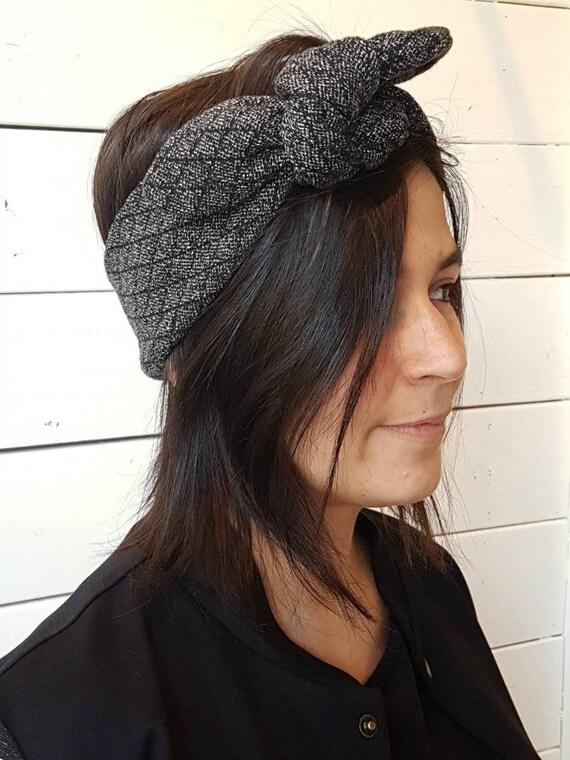 L'APRÈS-SKI - retro headband with knot for women - charcoal grey