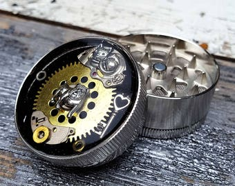 Steampunk Metal Herb Grinder - Steampunk You must LoVe that Bulldog-spice grinder-mint grinder