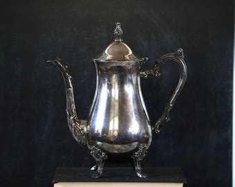 Vintage Silver Teapot, Tarnished, Shabby, Silverplate, Tea Party, Distressed, Wedding Decor, Ornate, Tablescape, Tea Party, Coffee Urn