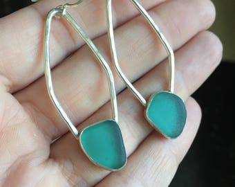 Sea Glass Teal Earrings Grecian Genuine Hand Forged Hammered Mermaid Sterling Silver Dangle