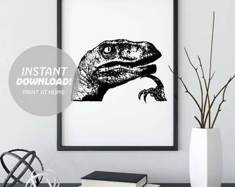 Philosoraptor Meme Art Print, Printable Digital Download, Minimalist Poster, Black and White, Raptor, Dinosaur, Philosophy