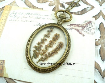 Dried flower pendant in resin, ecological resin, bronze necklace, open back bezel, handmade, botanical jewelry, steampunk, 15 off ship