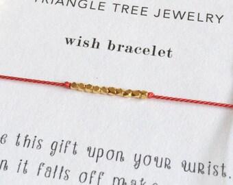 Gold Beaded Wish Bracelet, Friendship Bracelet, Tie On Bracelet, Various Colours