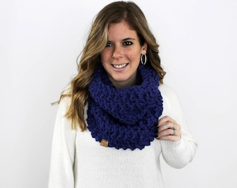 Knitted Scarf Cowl Chunky Cobalt- Calvert Cowl