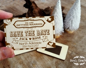 Circus Ticket Save The Date Wooden Fridge Magnet Funfair Engraved Rustic Destination Wedding Gift invitation Decoration Bridal Pack of 30/50