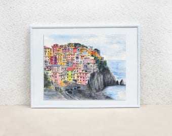 Cinque Terre. Italy painting. Italy wall art. Liguria painting. Italy art. Colorful painting. Cinque Terre painting. Original painting 8x10