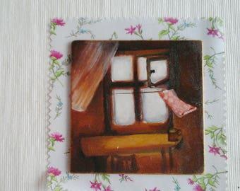 Amber Glow/ 10x10 cm/ Tiny original acrylic painting