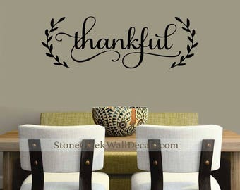 Thankful Wall Decal Etsy