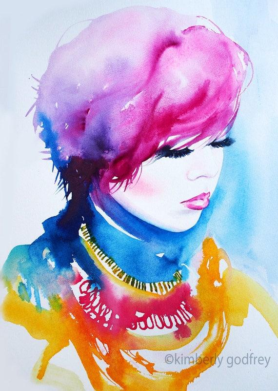 Erica Illustration impression d'Art aquarelle coloré à l'encre rose coiffure Salon de beauté Decor mannequin