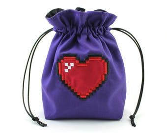 Pixel Heart Dice Bag, Drawstring Bag