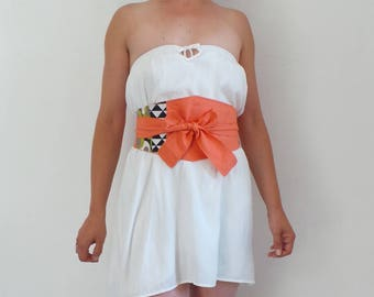 Belt Obi graphic cotton orange and black triangle, creating unique and recycled