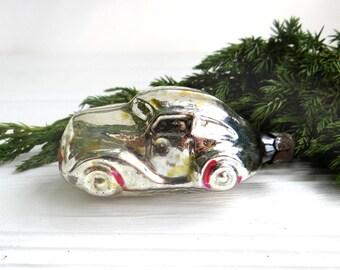Vintage car ornament Silver automobile Soviet car auto Glass Christmas tree ornament Mercury glass decoration Glass bulb Glass bauble toy