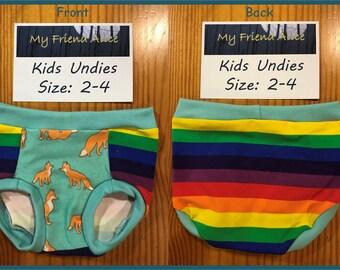 Kids/toddler undies, underwear, pants, panties, briefs, size 2-4, rainbow and fox fabric