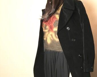 Black Velvet Maxi Coat. Mary Quant Trench Coat. Vintage 70s Long Evening Coat 2. Saks 5th Avenue Long Black Steampunk Coat Cosplay Jacket XS