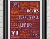 Virginia Tech Hokies VT Subway Scroll Art Print Wall Frank Beamer Hokie Lane Stadium Decor Typography Inspirational Poster Motivational