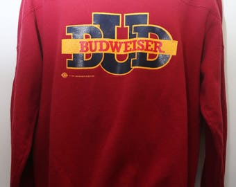"""Very Rare 1991 Vintage Russell Athletic Anheuser-Busch Inc. """"BUDWEISER"""" Specialty Sweatshirt Sz:  Large (Men's Exclusive)"""