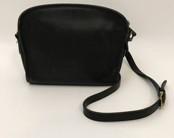 Vintage Coach Black Leather Satchel Cross Body Bag - 1990's Vintage Long Shoulder Strap Women's Purse - Classic Neutral Shoulder Bag