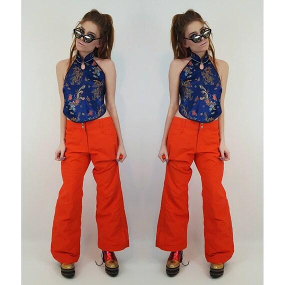 2000s Sporty Neon Orange Roxy Snowboarding Pants Size Large - Y2K Sports Snap Leg Baggy Spice Girl Windbreaker Flared Lined Winter Pants