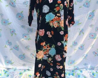 Japonaise floral seventies plush velour fleece loungewear maxi dress