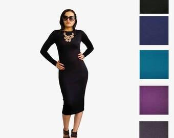 Long Midi Dress - Pencil Dress - Midi Dress - Plus Size Dress - Classy Dress - Long Sleeve Dress - Boat Neck - Petite Dress - Tall Clothing