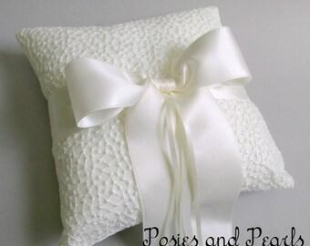 "Ivory Dot Lace Ring Bearer Pillow, Dupioni Silk, Satin Bow, Wedding Ring Cushion, ""Britany"""