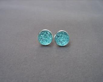 Aqua Blue Stud Earrings, Blue Druzy Earrings, Aqua Earrings, Aqua Post Earring, Aqua Druzy Earring, Silver Stud Earring