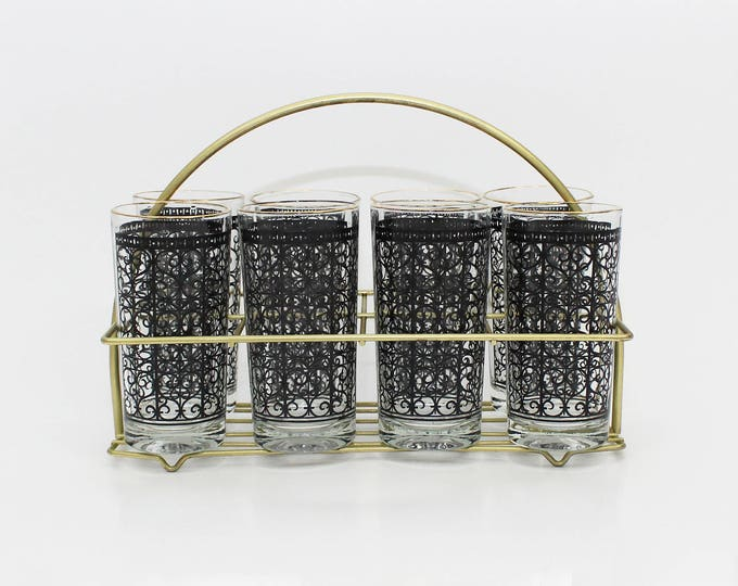 Vintage 1960s High Ball Glasses and Caddy - Set of 8