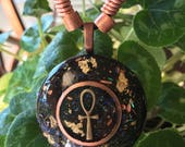 Orgone Holographic ASG Ankh pendant with Copper cylinder, Shungite, Kyanite, Gold flake, 1.5 in round