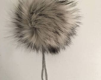 Luxury silver fox faux fur pom pom faux silver fox grey and black large pom pom for hat, key chain