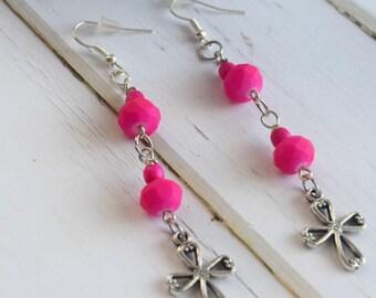 Cross Earrings   Earrings With Cross, Gift-For-Women, Earrings For Mom, Cross Gift For Wife, Gift With Cross For Her, Bridesmaid Gift