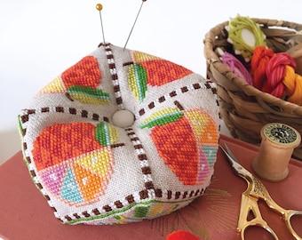 Citrus Biscornu - printed version - Satsuma Street modern cross stitch pattern
