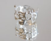 """Statement Ring: Organice Lace Ring """"Jukai"""" Hammered Texture Ring-Size 5.5 *Ready to Ship in Sterling Silver"""
