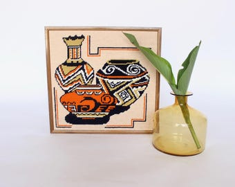 Vintage Crewel Native American Pottery Southwestern Art Cross Stitch Boho Home Decor