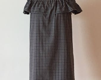 Gray and navy plaid, off-shoulder ruffle dress, above the knee length, Size S