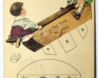 Gibson Art Co. 1919 Vintage Postcard. Uncut puzzle & Mechanical Teeter Totter Fine
