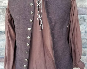 Long Style 17th Century Renaissance/Pirate Vest and Shirt Combo